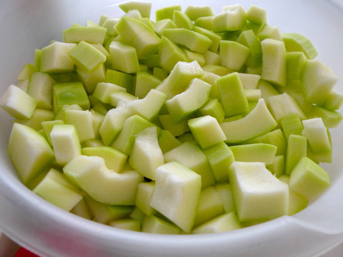 Cut zucchini into chunks. Measure out 8 to 9 cups.