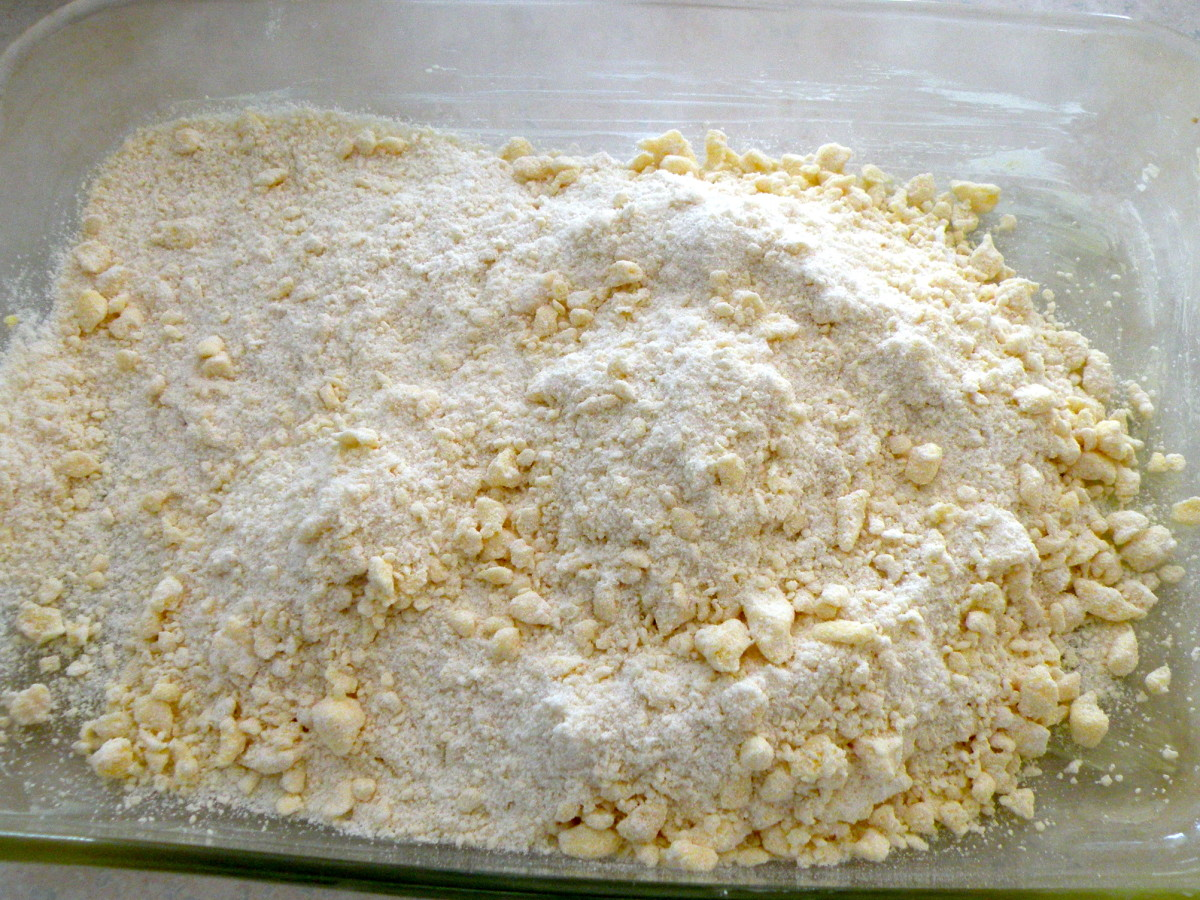 Remove 1/2 cup of crumb mixture. Divide remaining crumb mix in half and place half in the bottom of pan.