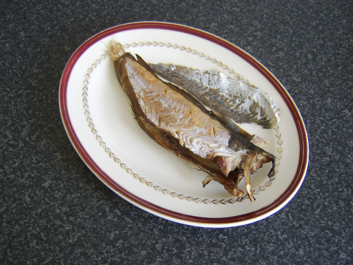 Skin peels easily off hot Arbroath smokie