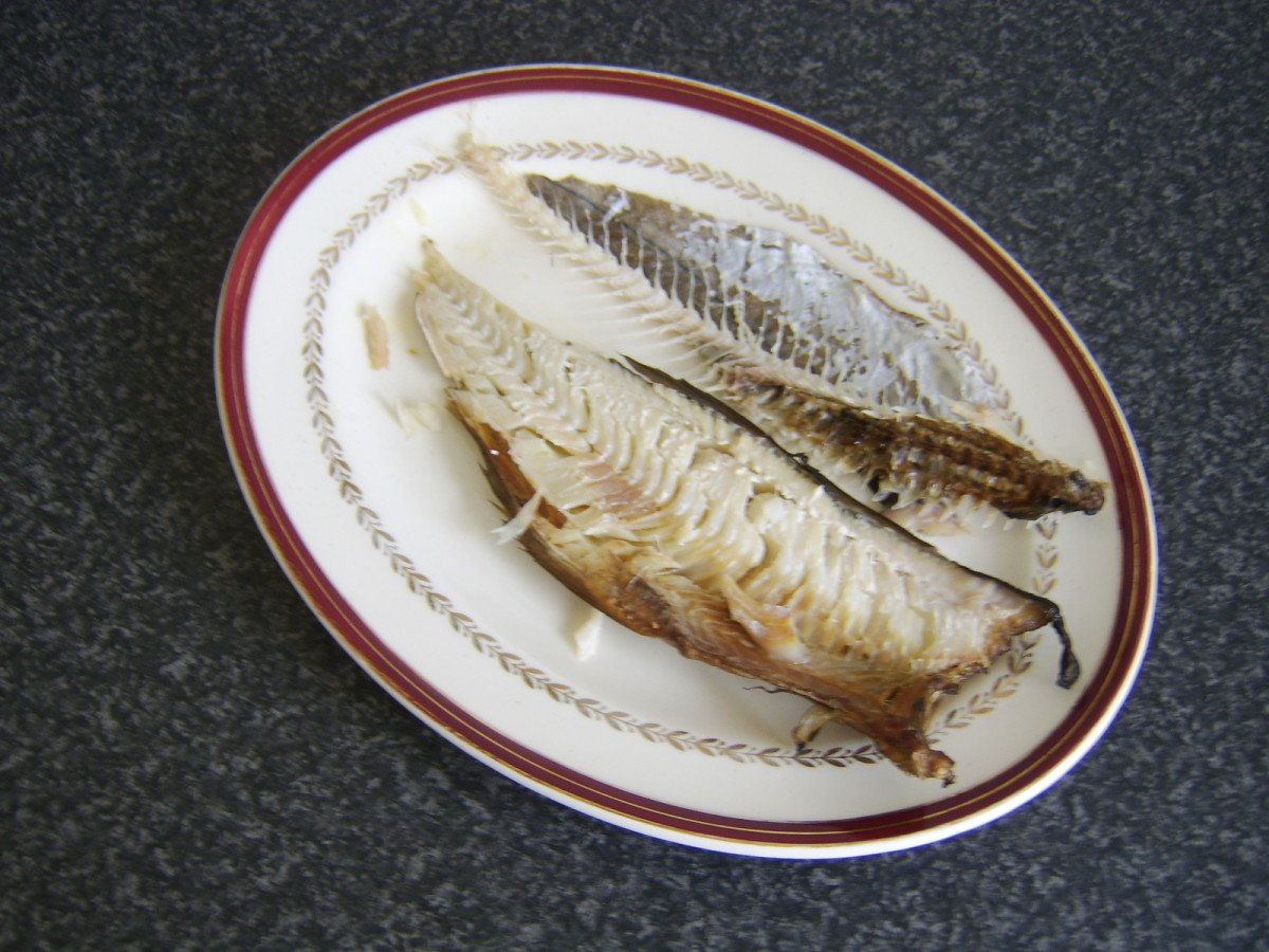 Bone removed from half eaten Arbroath smokie