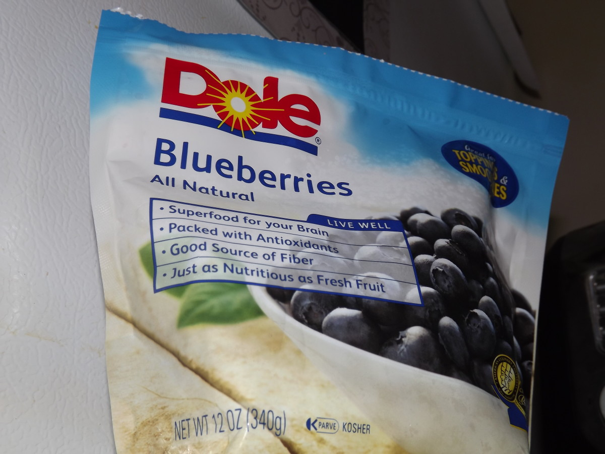 Frozen blueberries I use.