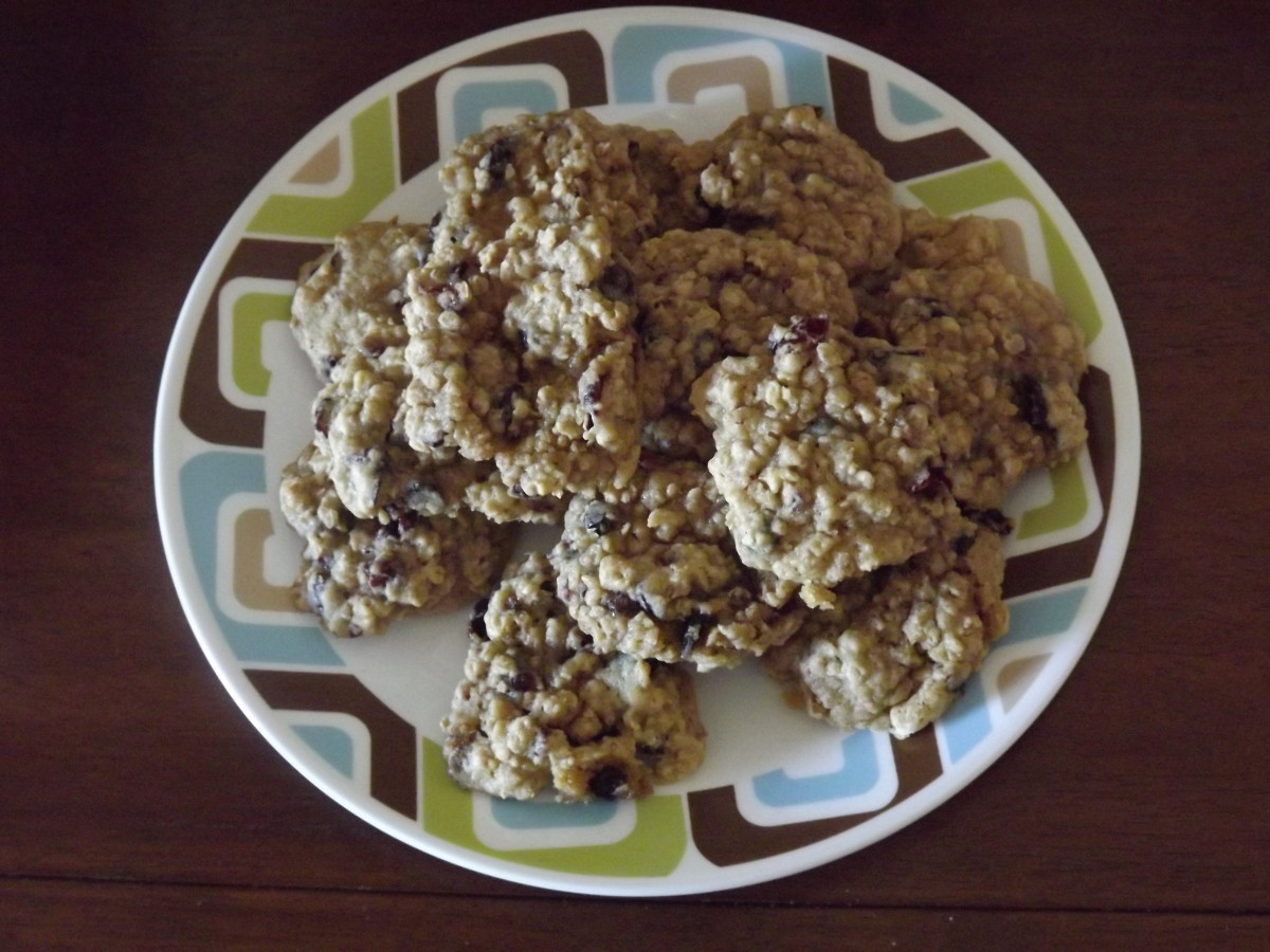 Plate full of delicious spiced ranger cookies.