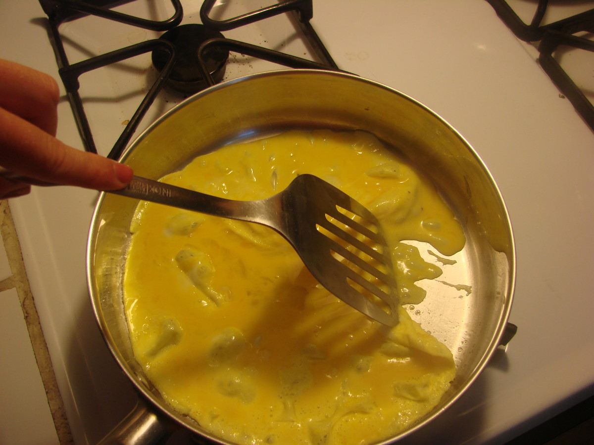 Once you pour the beaten egg mixture into sizzling oil, let it just sit on medium-high heat for about 30 seconds