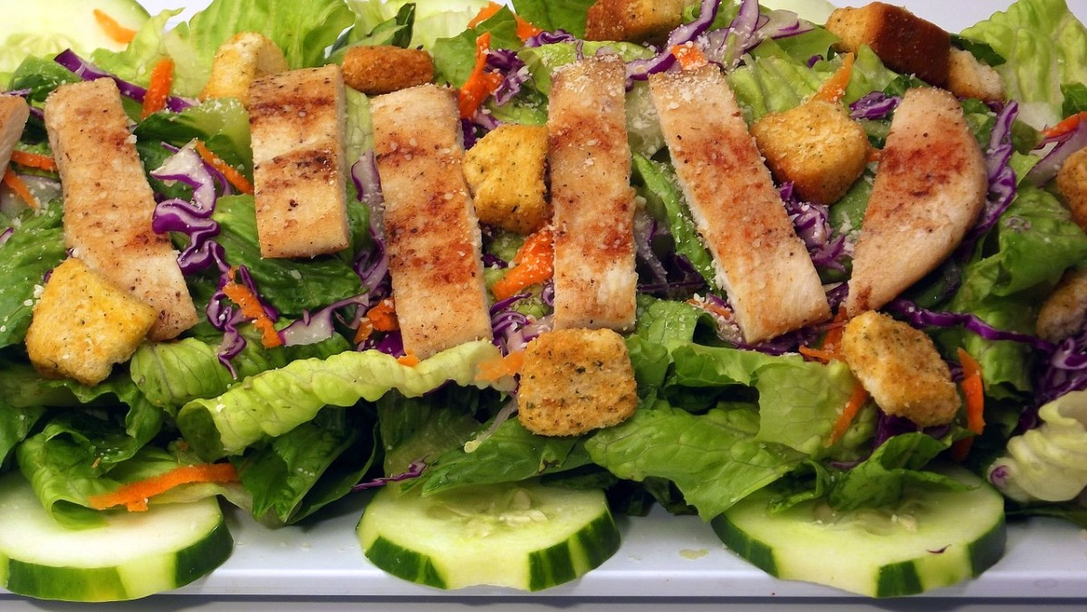 Most people prefer chicken with their Caesar salad. Add a few cucumbers and some shredded red cabbage and carrots and you've got yourself a meal.