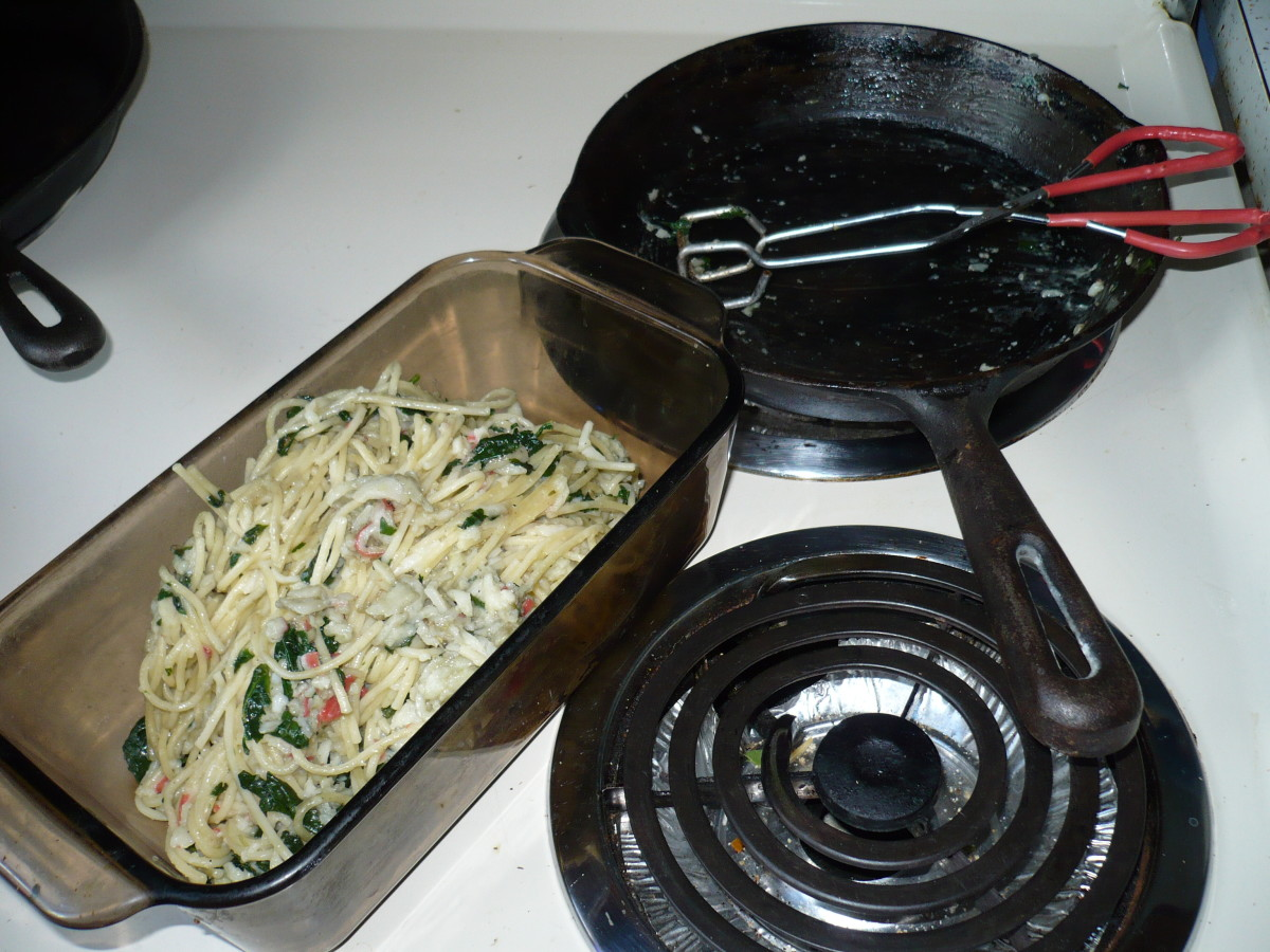 Pour pasta dish into a serving dish that you can refrigerate after.