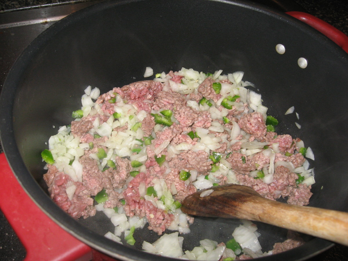 Saute ground sirloin, onion, and jalapenos.