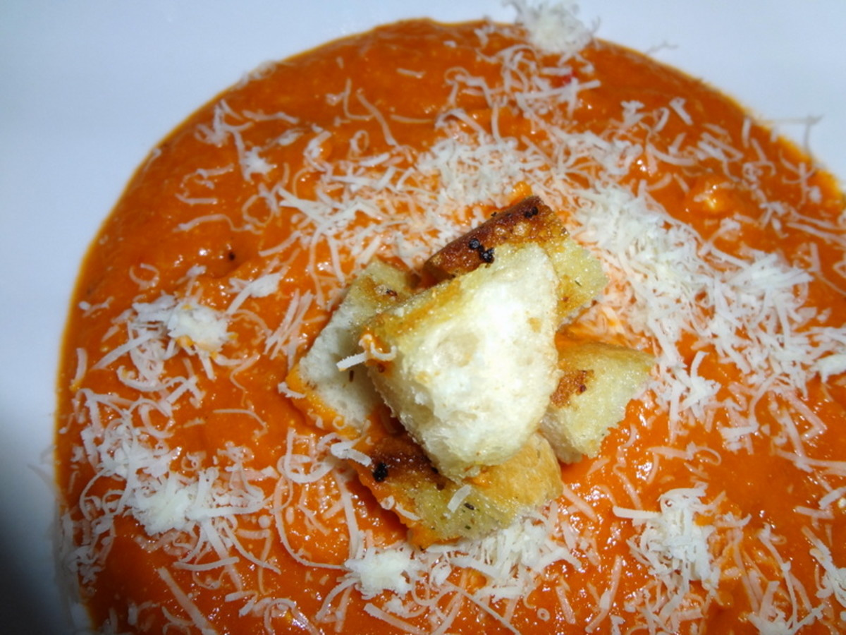 Homemade Tomato Soup With Parmesan & Croutons