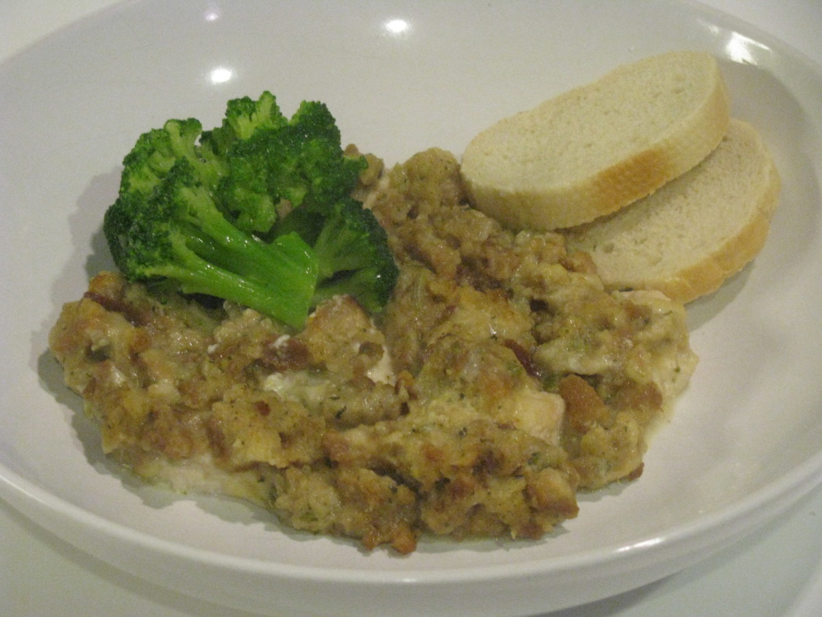 Serve this delicious chicken dinner casserole dish with a side of broccoli and enjoy!