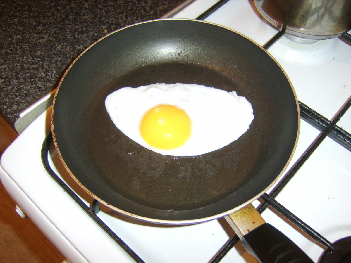 Frying the duck egg