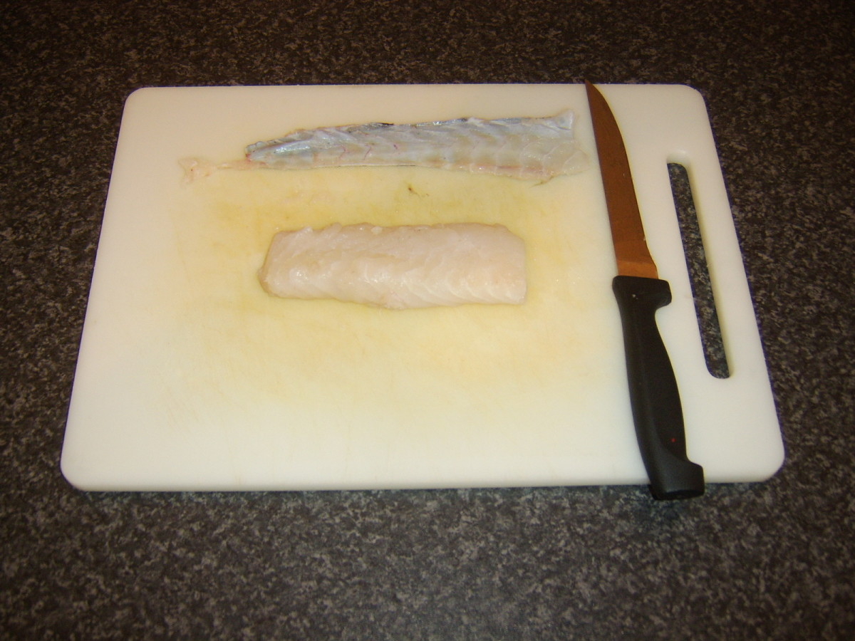 Skin is removed from ling fillet