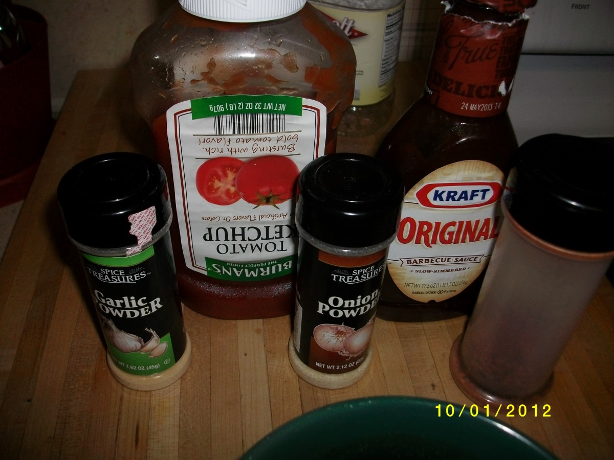 Onion powder, garlic powder, ketchup, BBQ sauce, Cayenne pepper