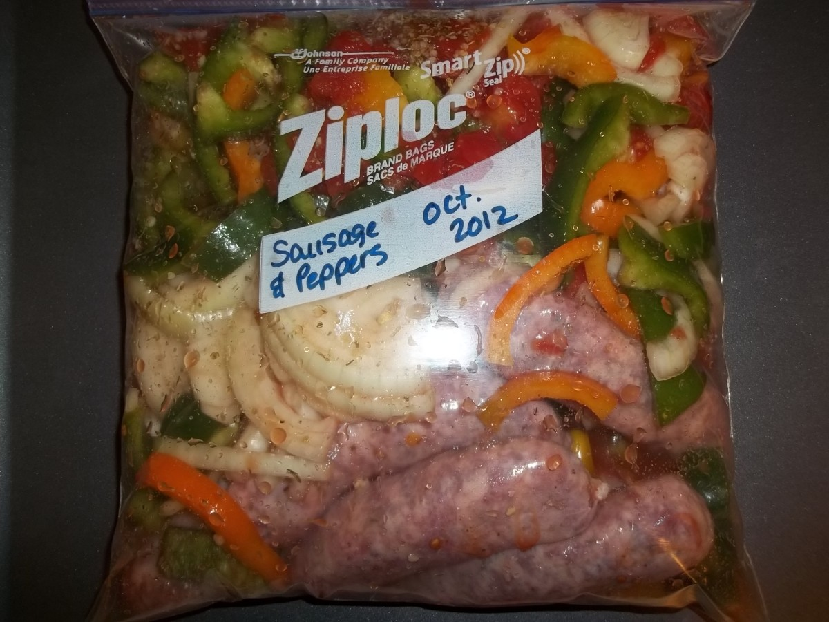 Sausage and peppers assembled and ready to freeze.