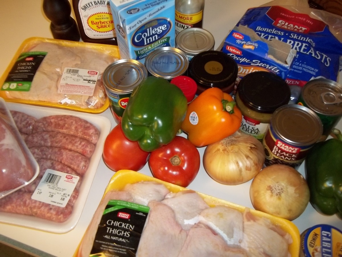 All of the ingredients for the 5 crock pot freezer meals.