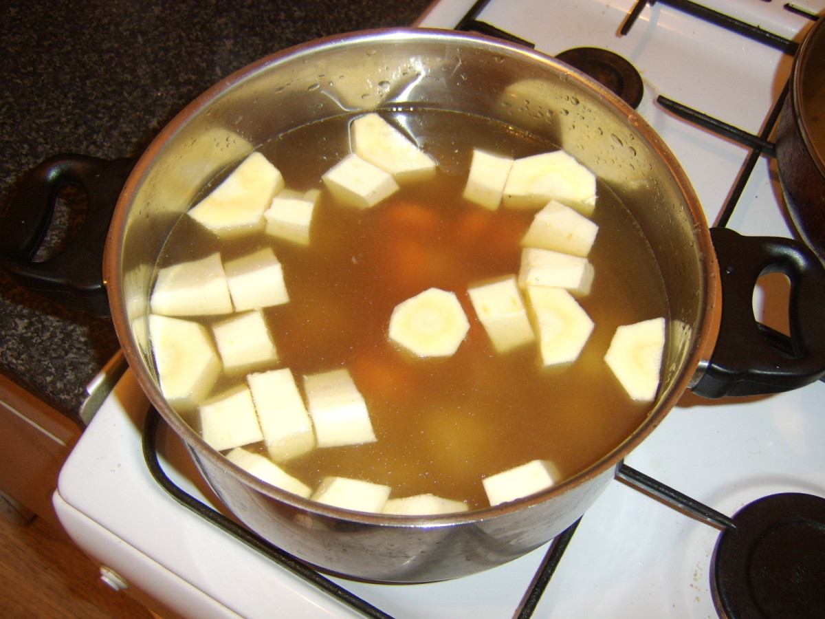 Vegetables are added to beef stock