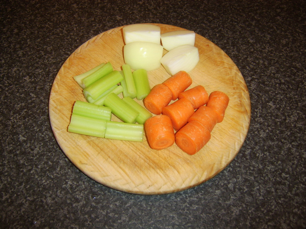 Vegetables are roughly chopped for making beef stock