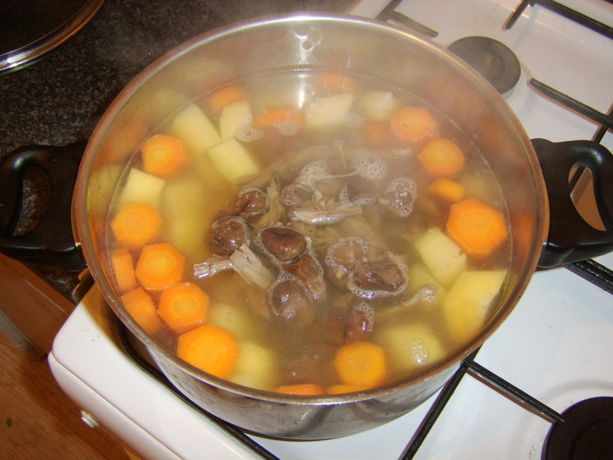 Beef and chestnuts are added to stock and vegetables