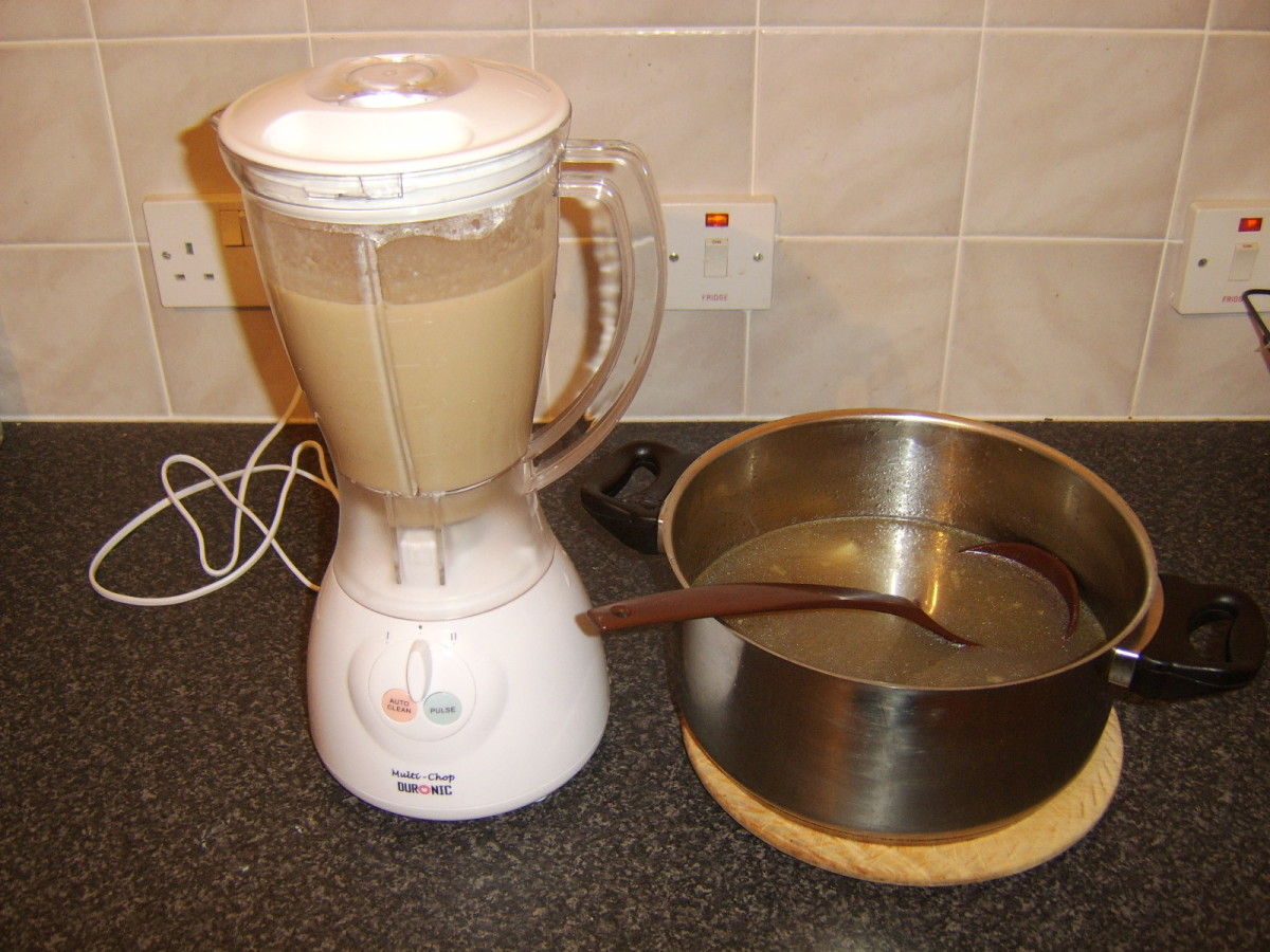 Chestnut soup mix is blended in stages