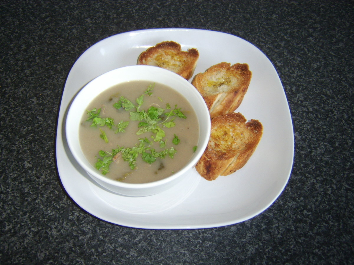 Blended chestnut soup is infused with strips of beef and served with bruschetta