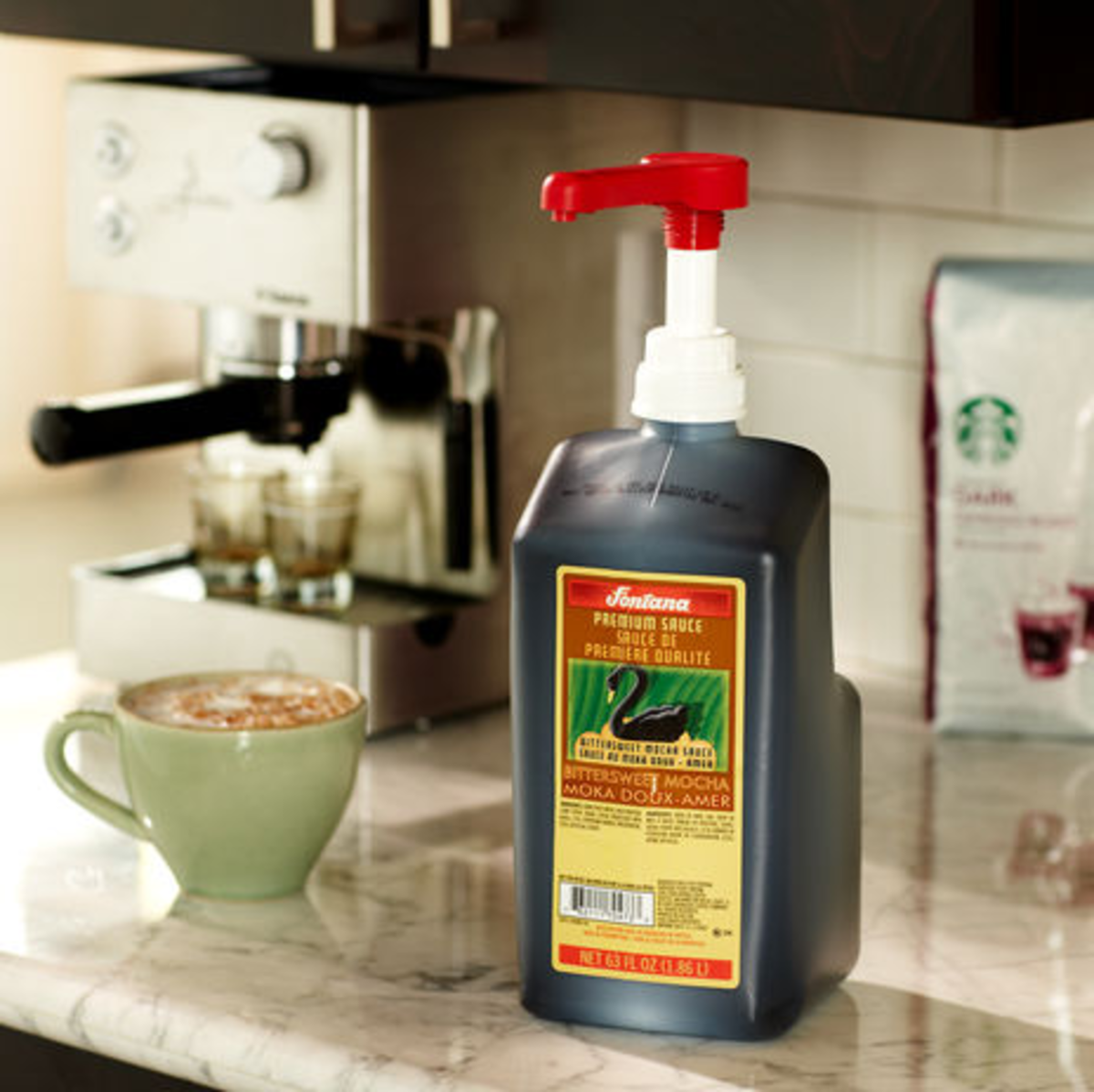 The Starbucks store offers Fontana sauces in place of mocha, white mocha, and some seasonal flavors.