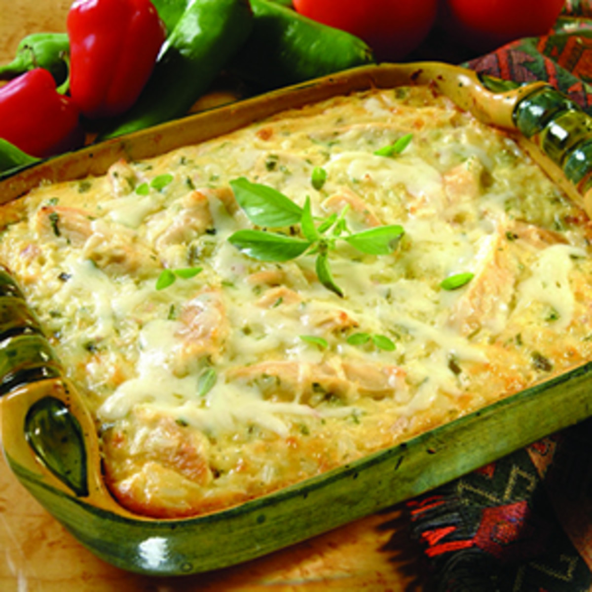 Chicken and Rice Casserole with Jalapeno and Cilantro