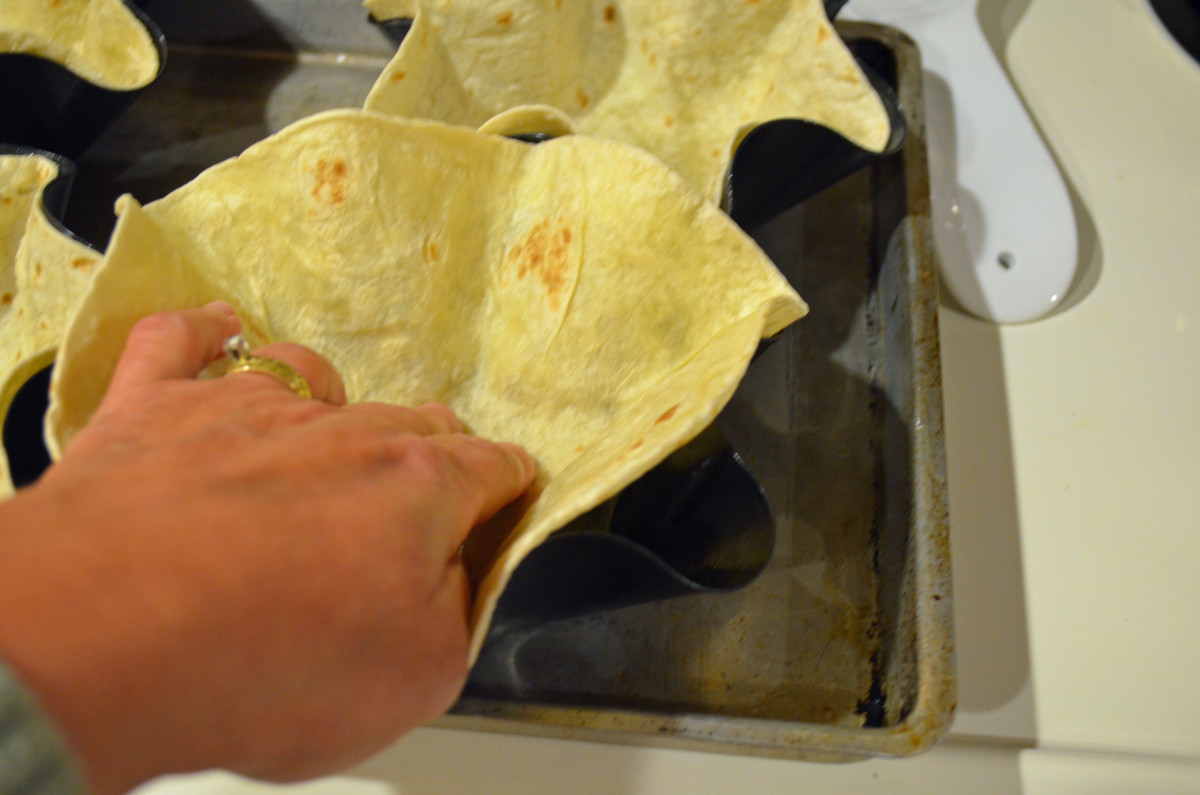 Simply press tortilla gently into mold.
