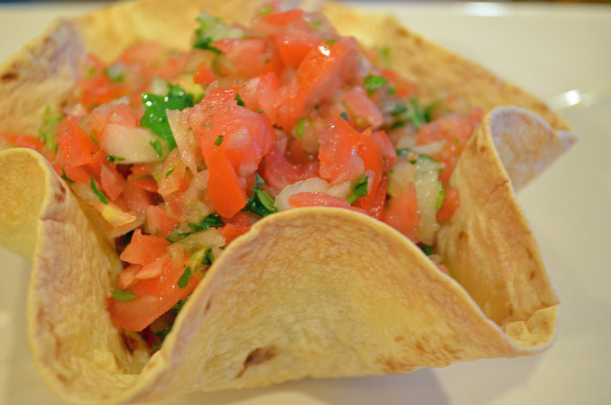 Use a tortilla bowl to hold dips like homemade pico de gallo.