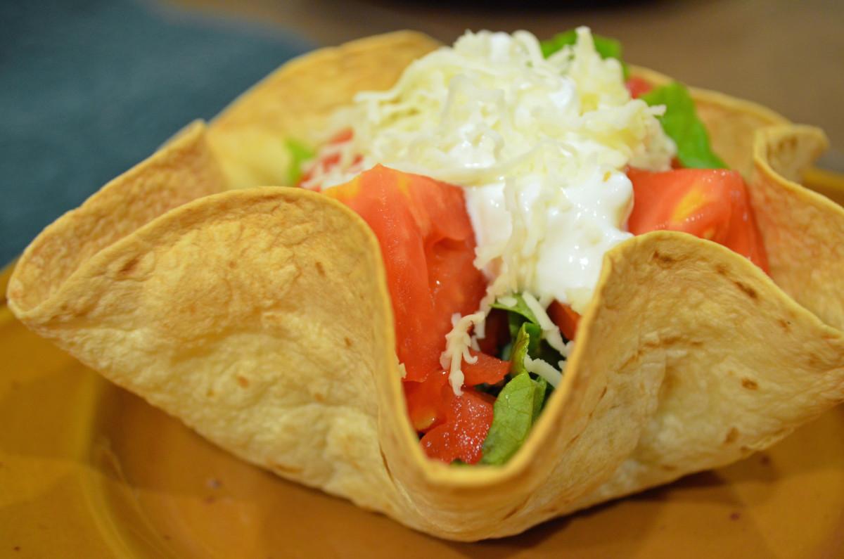 Use to make any size taco salad.