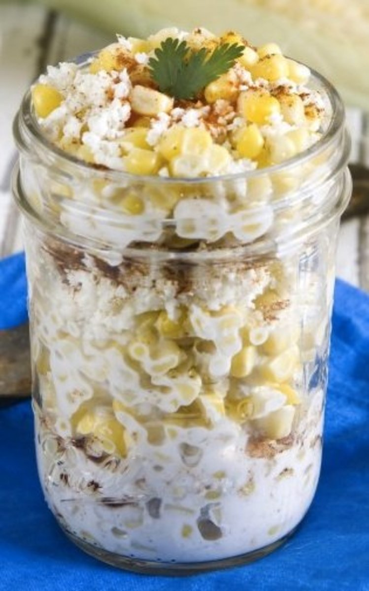 Mexican corn in a cup looks lovely when served in a clear glass jar.