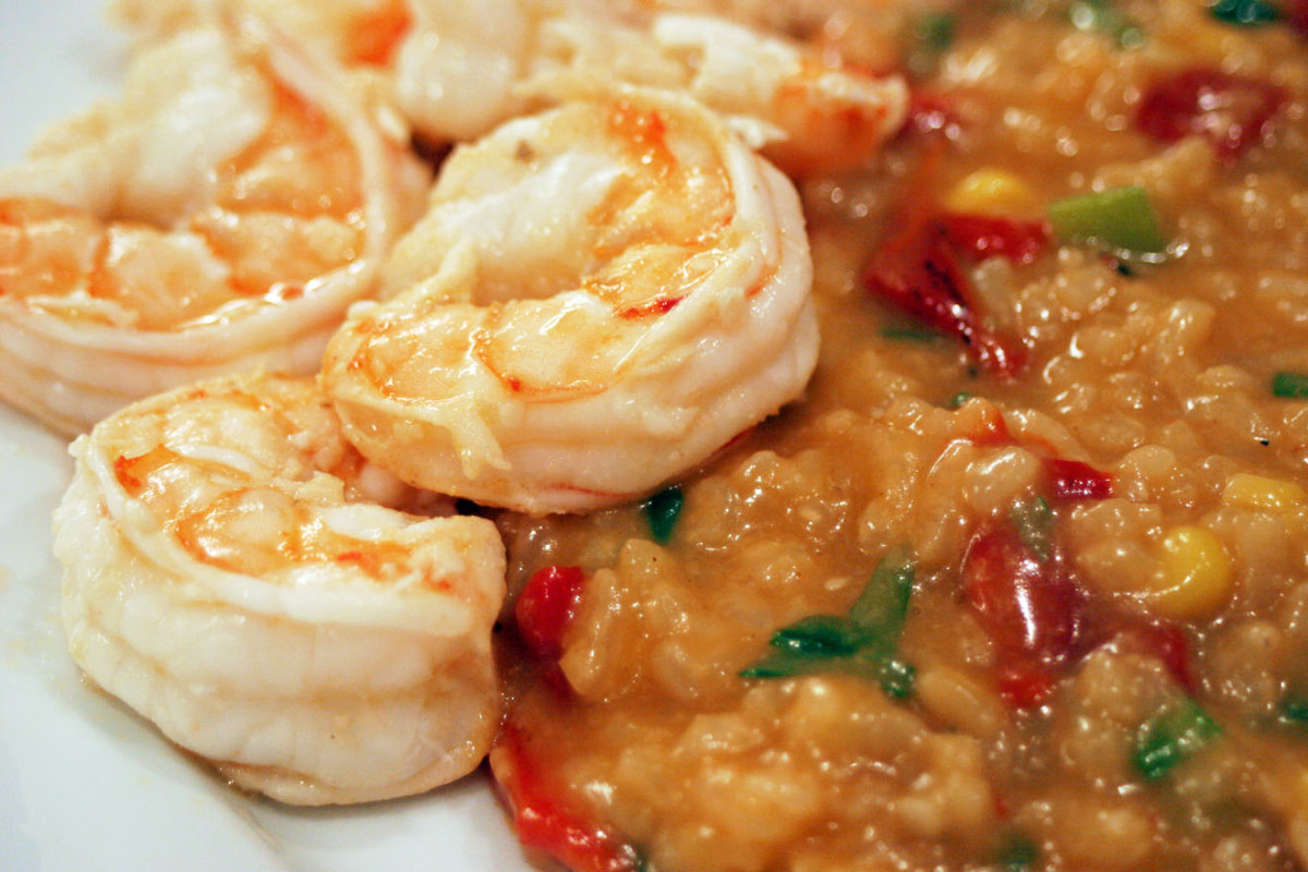 Tequila lime shrimp with Spicy Corn and Roasted Red Pepper Risotto