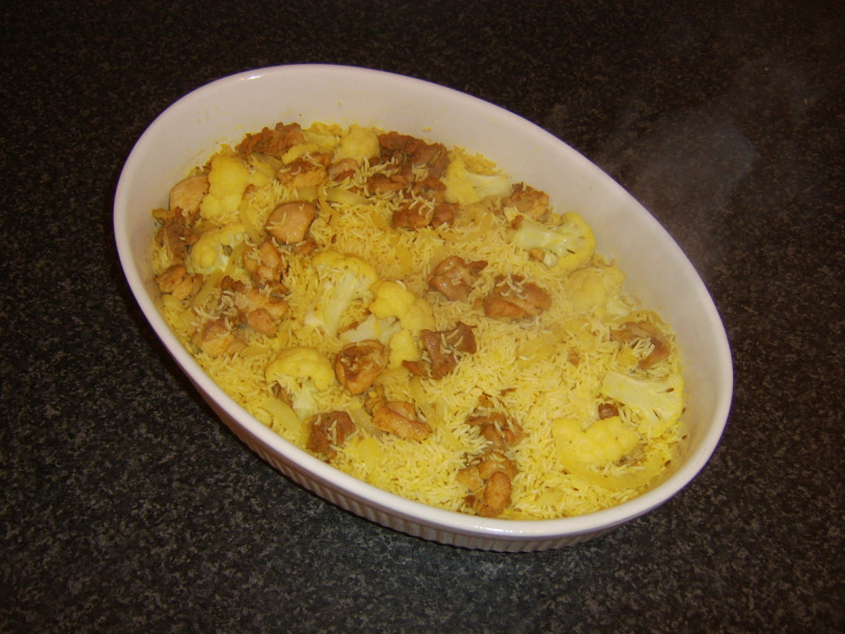 Birtyani chicken and rice casserole removed from the oven