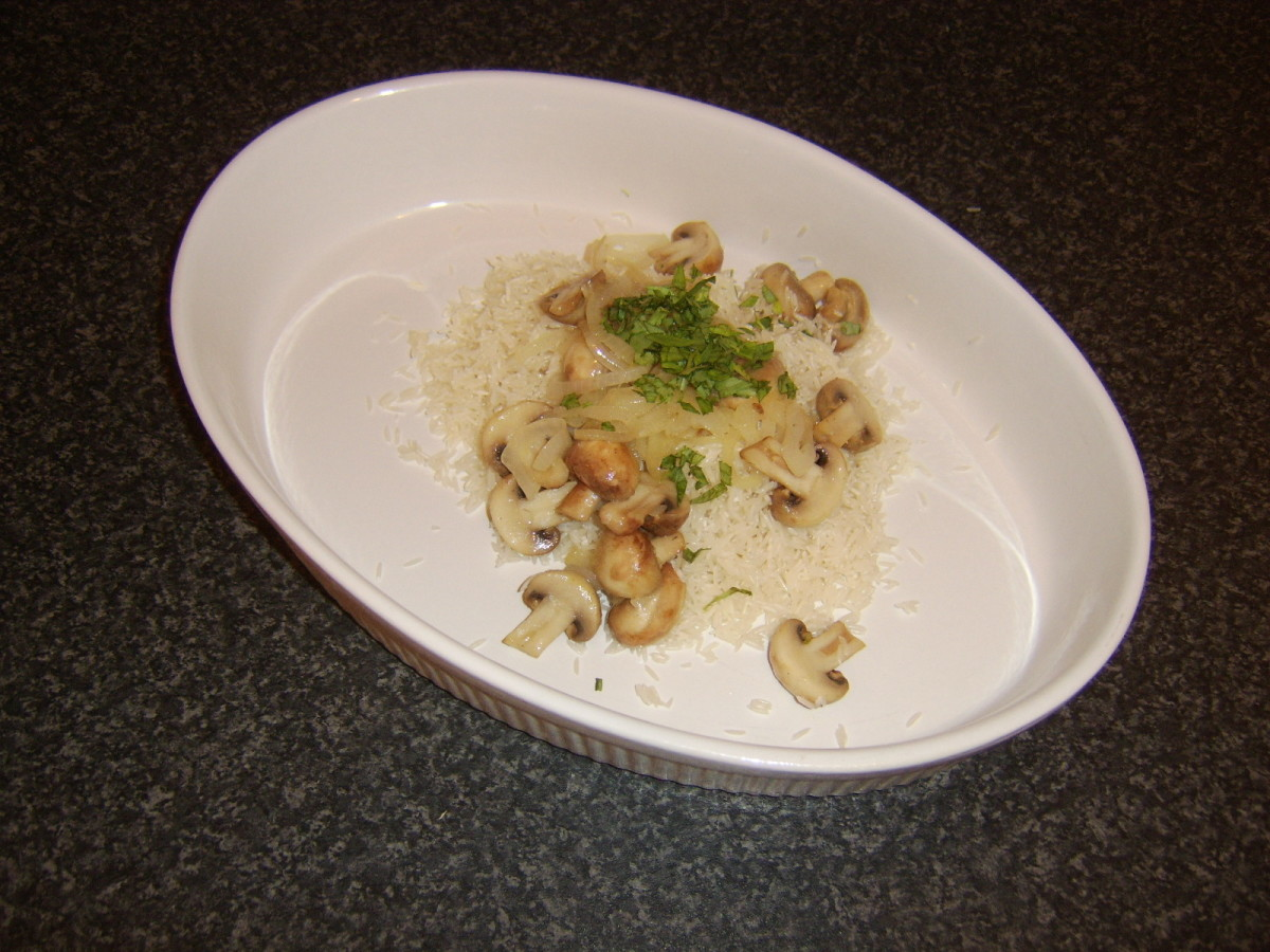 Rice, mushrooms, onion and tarragon are combined