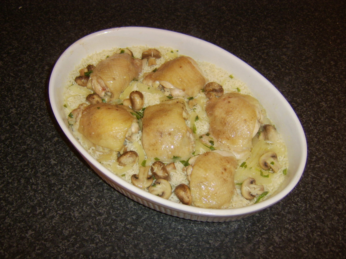Chicken thigh and rice casserole infused with fresh tarragon and mushrooms