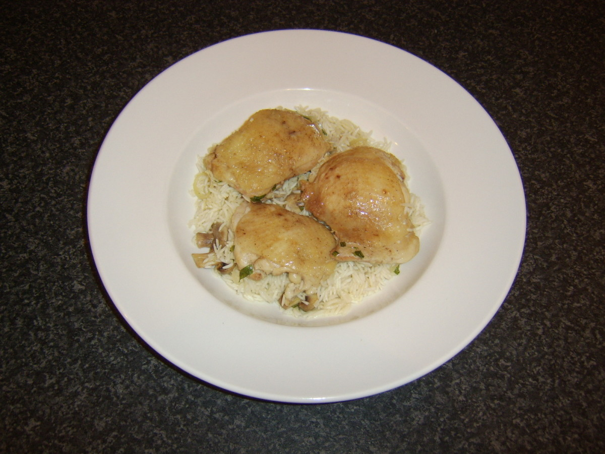 Chicken and rice casserole with tarragon and mushrooms is served