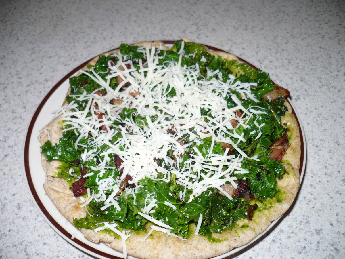 Healthy, easy Kale and feta Pizza