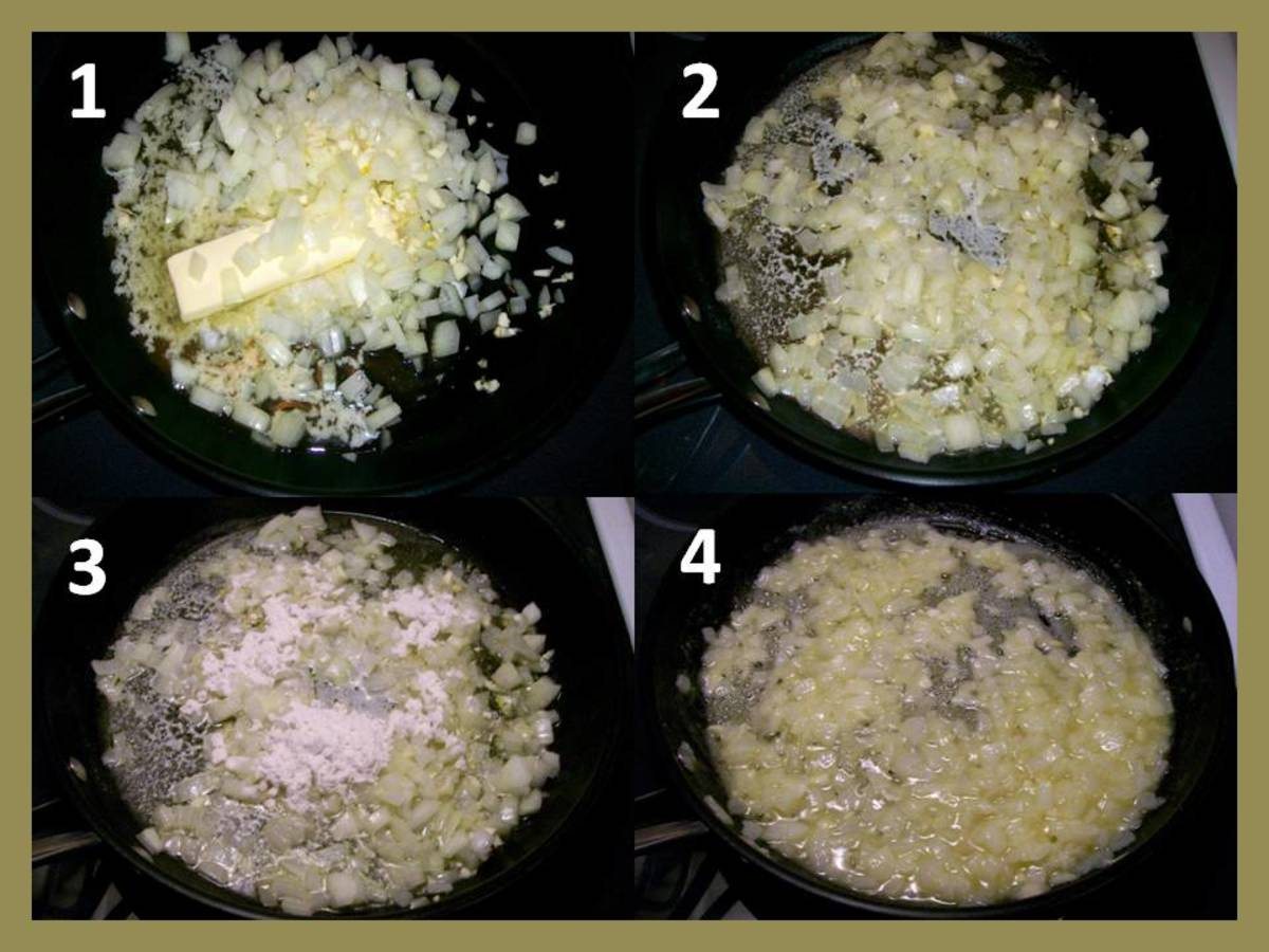 1.  Melt butter and add onions and garlic.  2.  Stir until translucent.  3.  Slowly add flour.  4.  Stir until thick, then add to the soup pot.