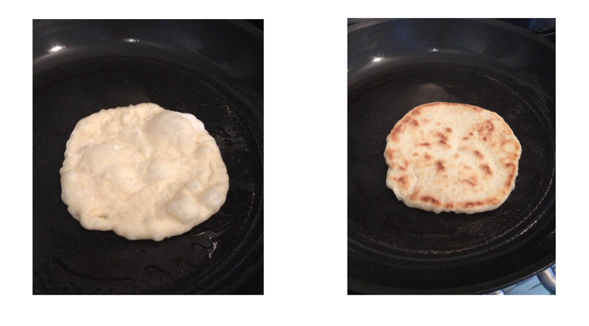 naan in the skillet