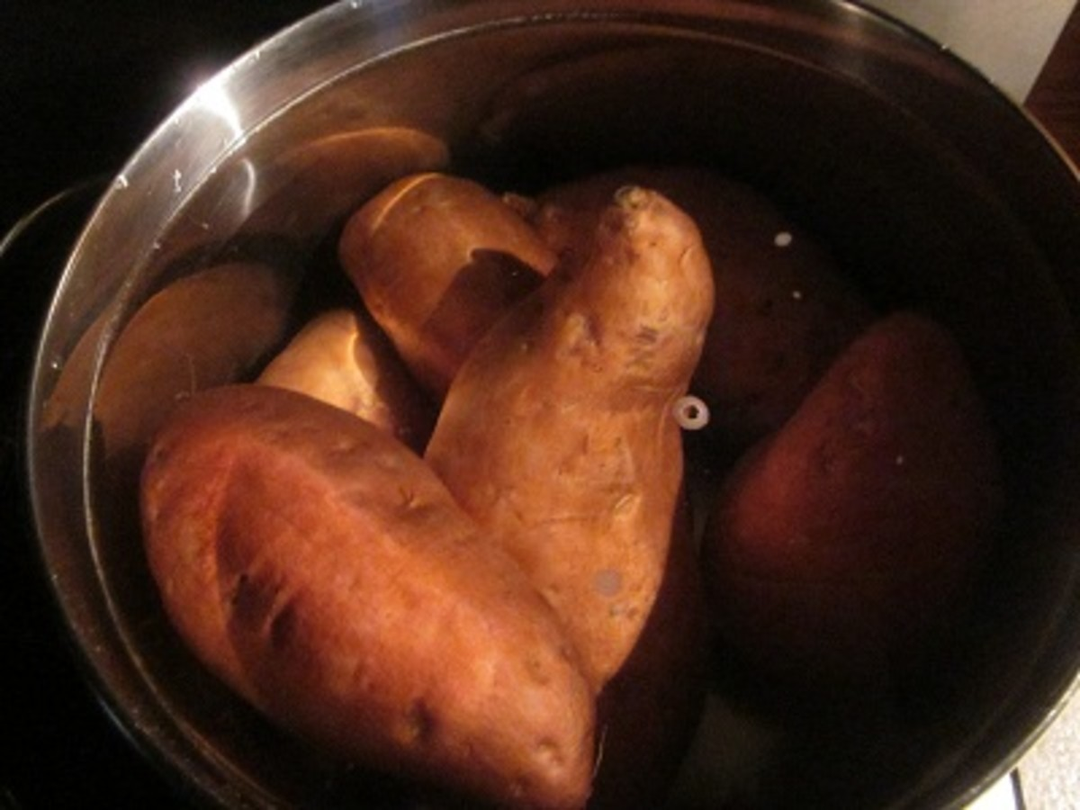 Boiling sweet potatoes