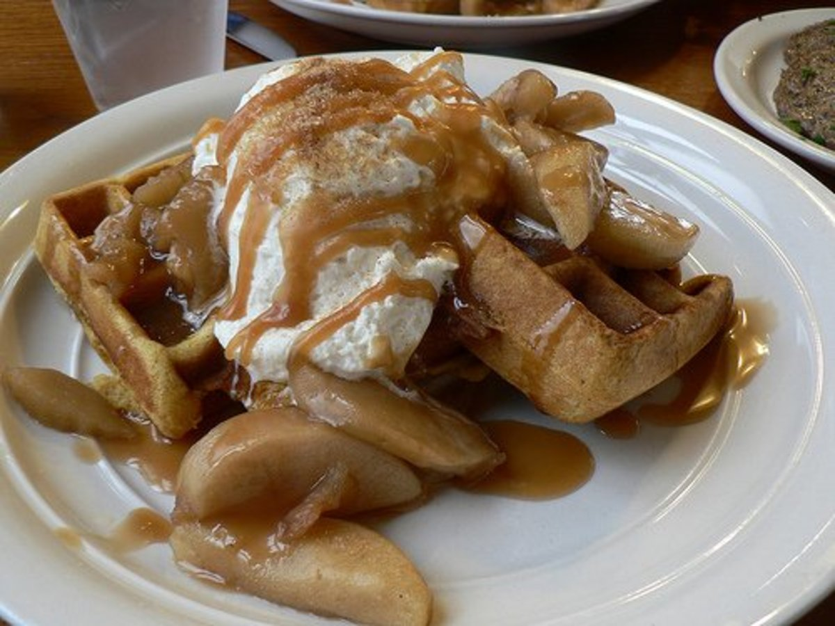 Make your waffles into an apple cobbler with vanilla yogurt for a super sweet morning treat.