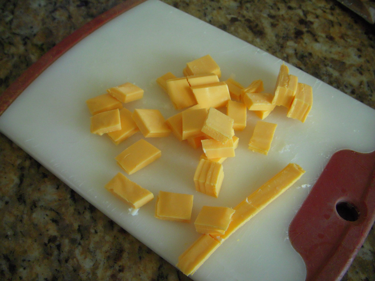 Slice American cheese into pieces, add to zippered bag.