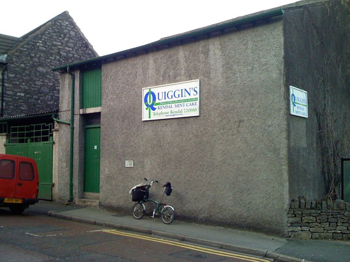 The Quiggin's factory on Lower Fellside, Kendal, Cumbria, UK.  Lisa Allen visited the factory and used Quiggin's Kendal Mint Cakes in her Strawberries with Meringue and Kendal Mint Cake Water Ice dessert on the BBC programme, Great British Menu.