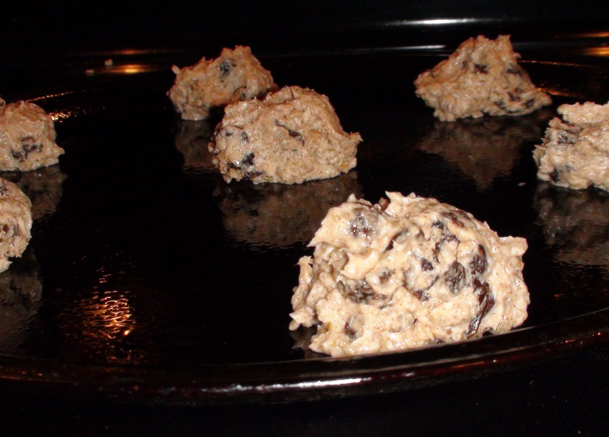 Drop tablespoon sized balls onto a greased cookie sheet.