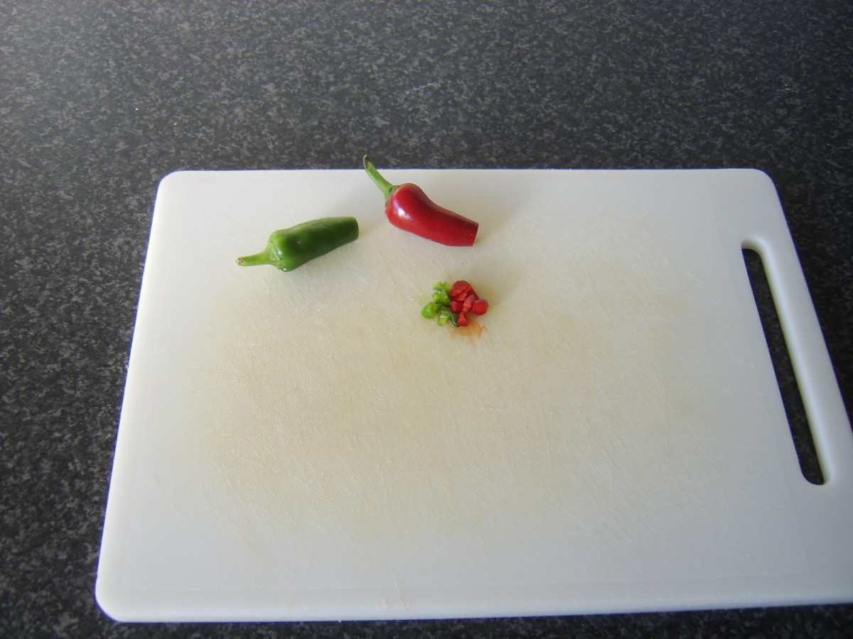 Tips of the chilli peppers only are finely diced and used for the stuffing