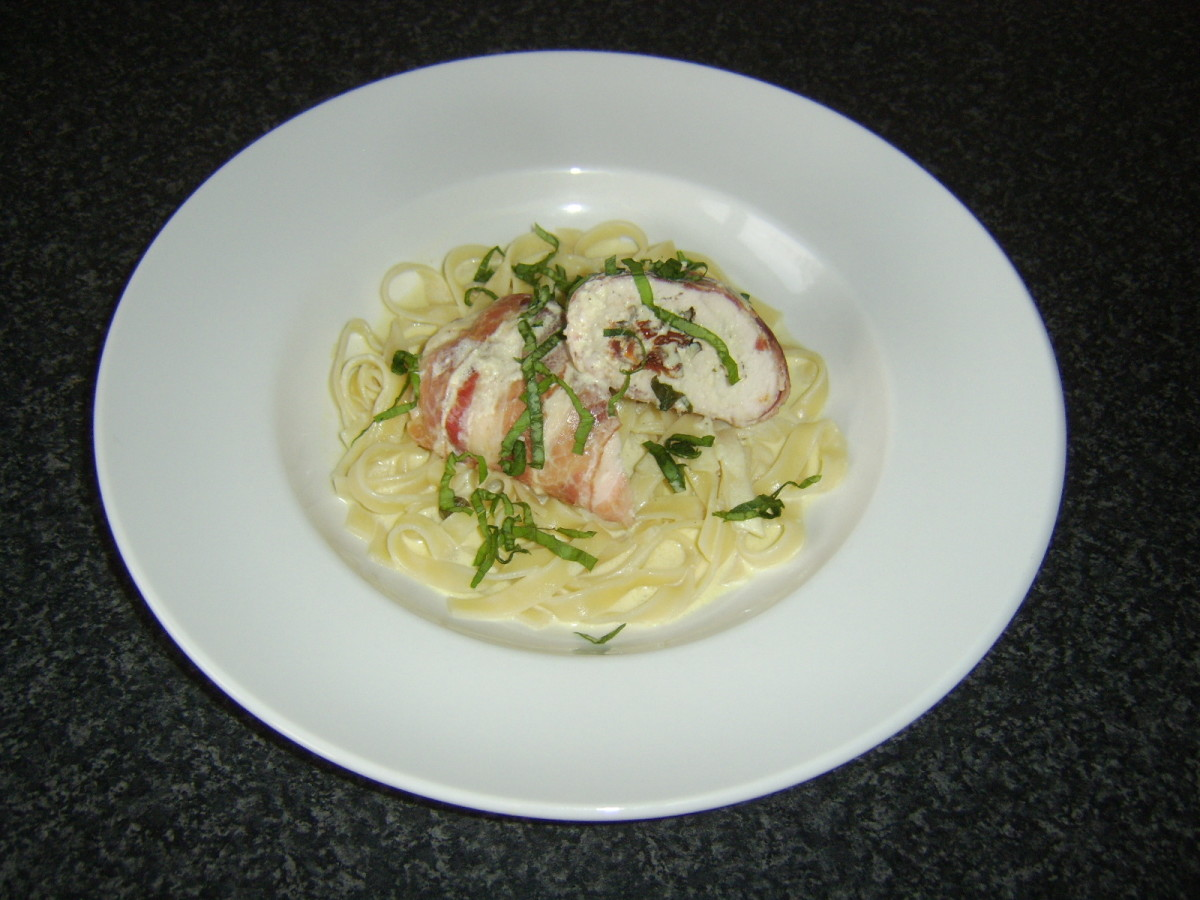 Served with linguine and garlic cream sauce