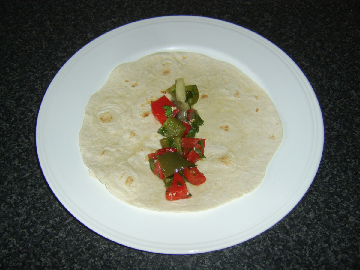 SPicy vegetables are first to be added to each tortilla wrap