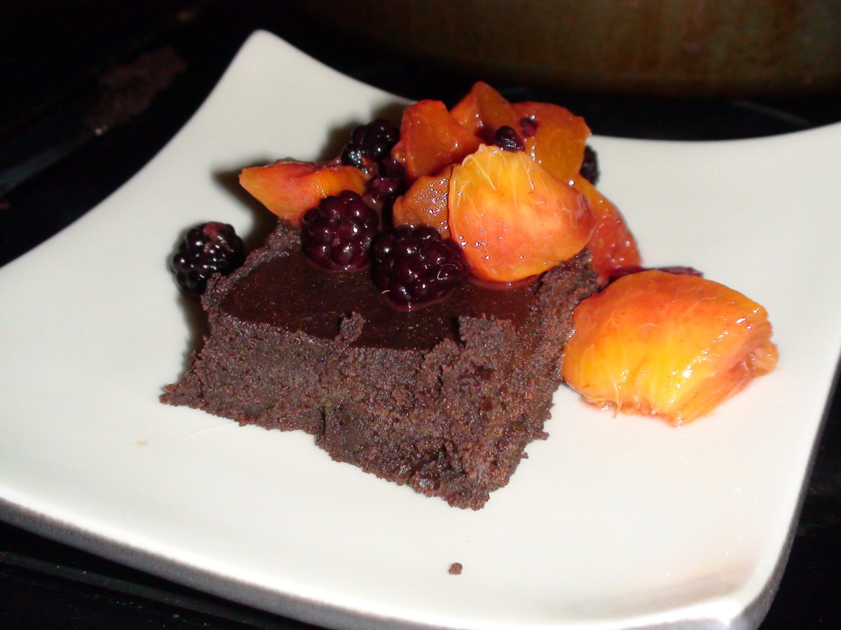 Gluten-free Avocado Brownies topped with peaches and blackberries. Delicious and nutritious!