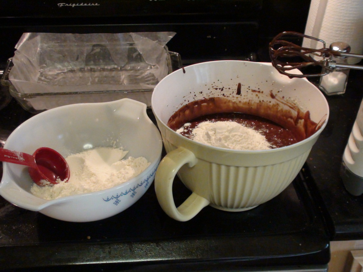 Add flour, 1/3 at a time to wet mix, being careful of lumps.