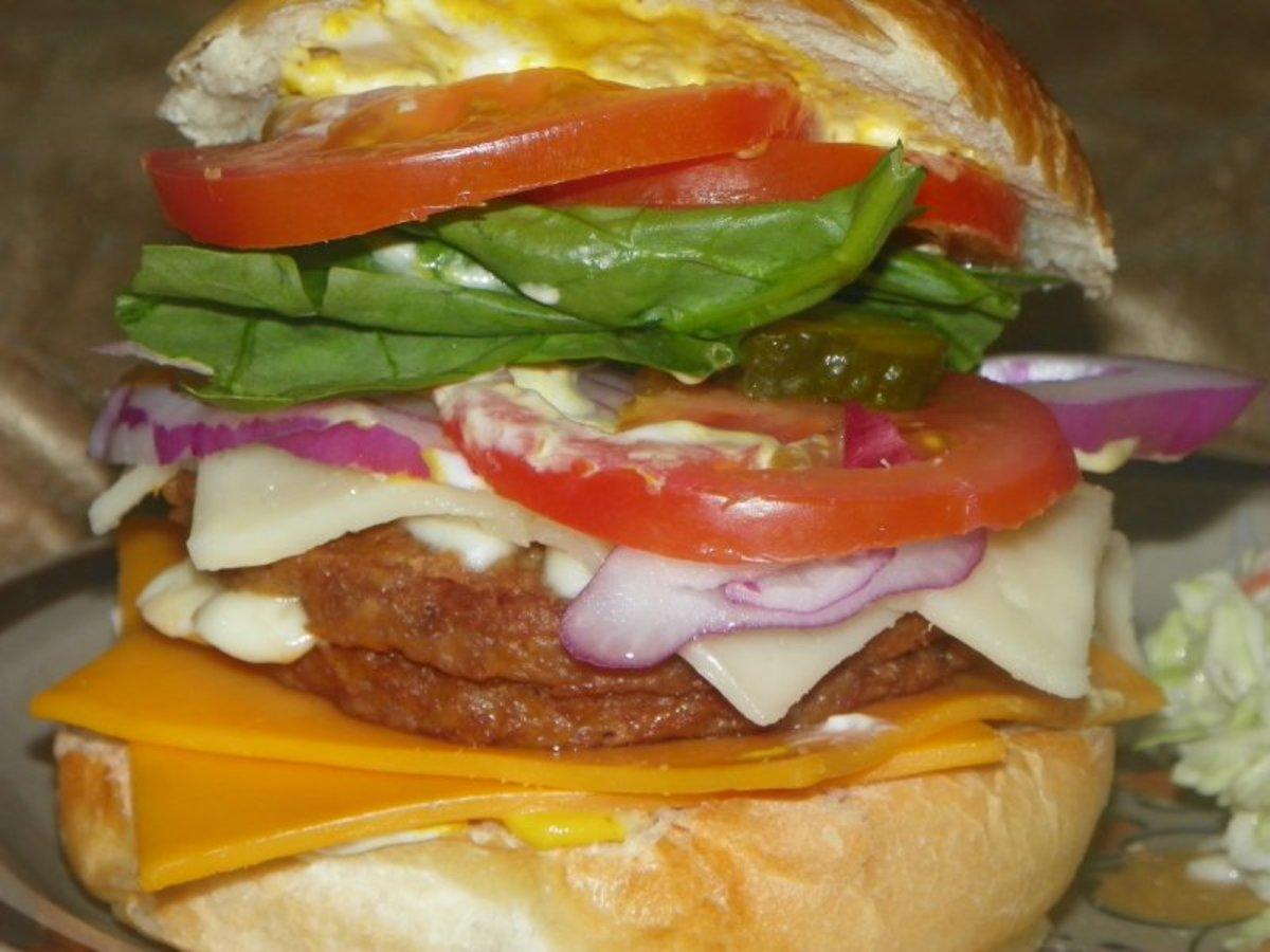 A very big veggie burger.
