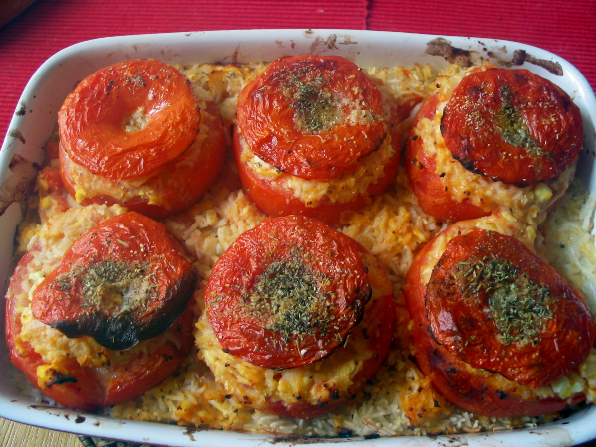 Vegetarian stuffed tomatoes (stuffed with hard-boiled egg and Parmesan).