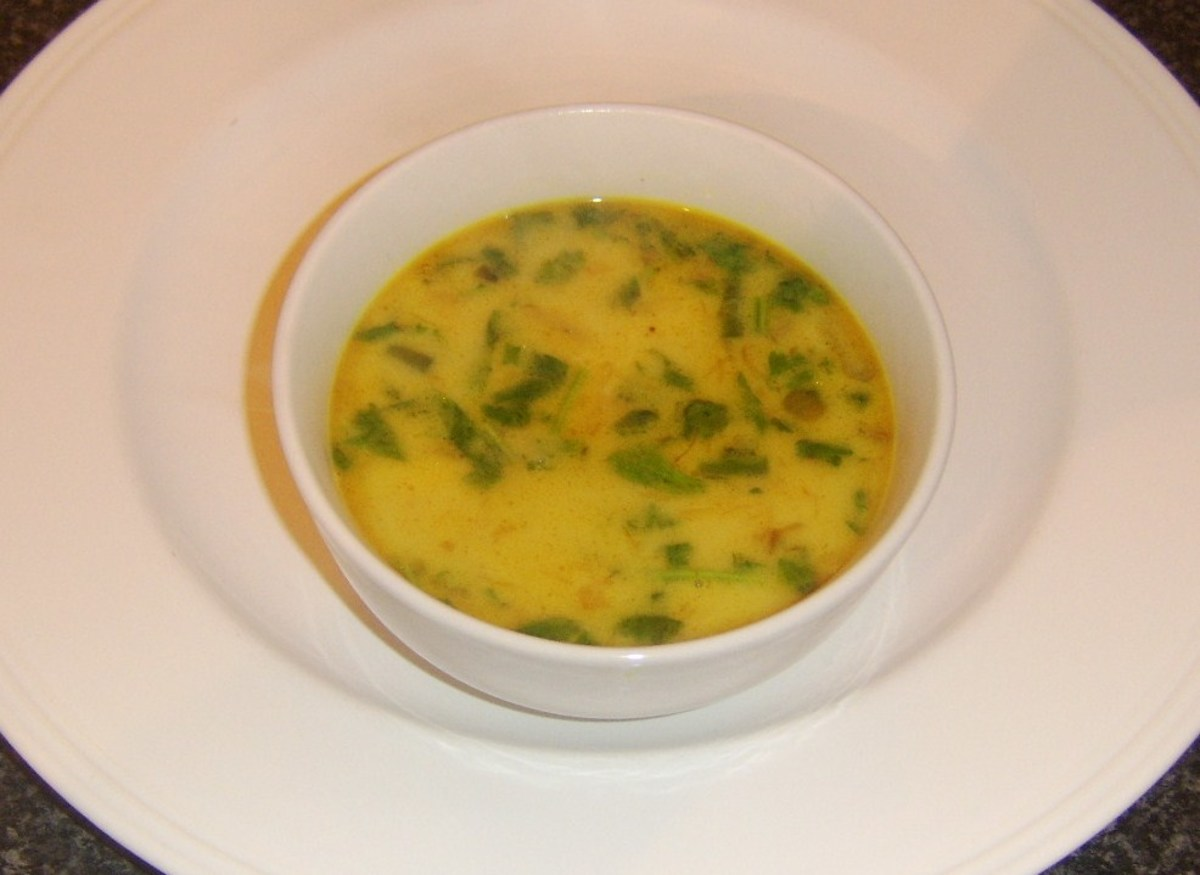 Bowl of curried pollack fish soup