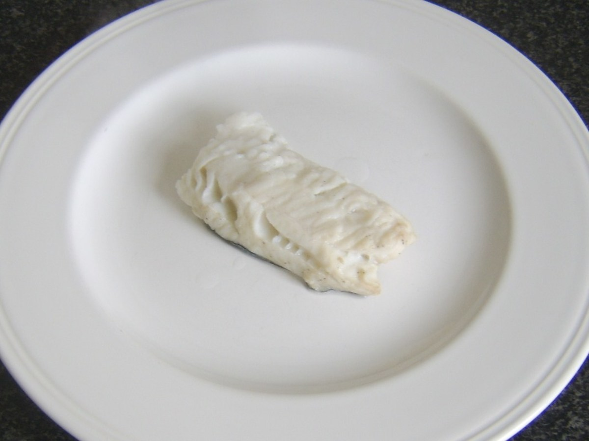 Poached pollack fillet